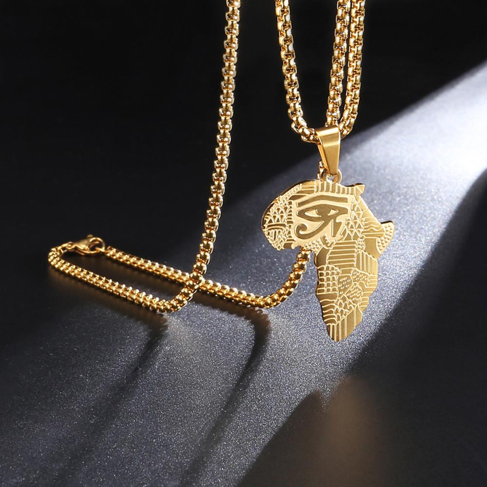Africa Eye Of Horus 14k Gold Egyptian Pendant