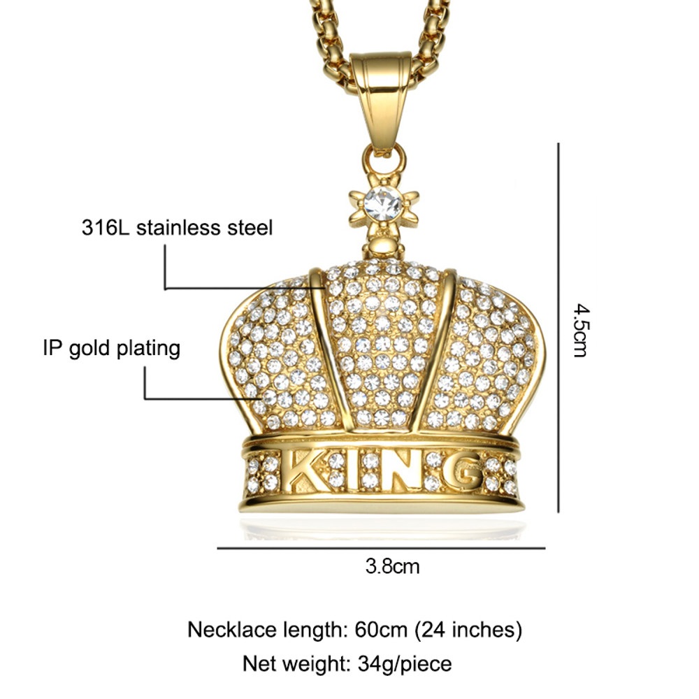14k Gold Iced Out King Crown Lab Diamond Stainless Steel Gold Pendant