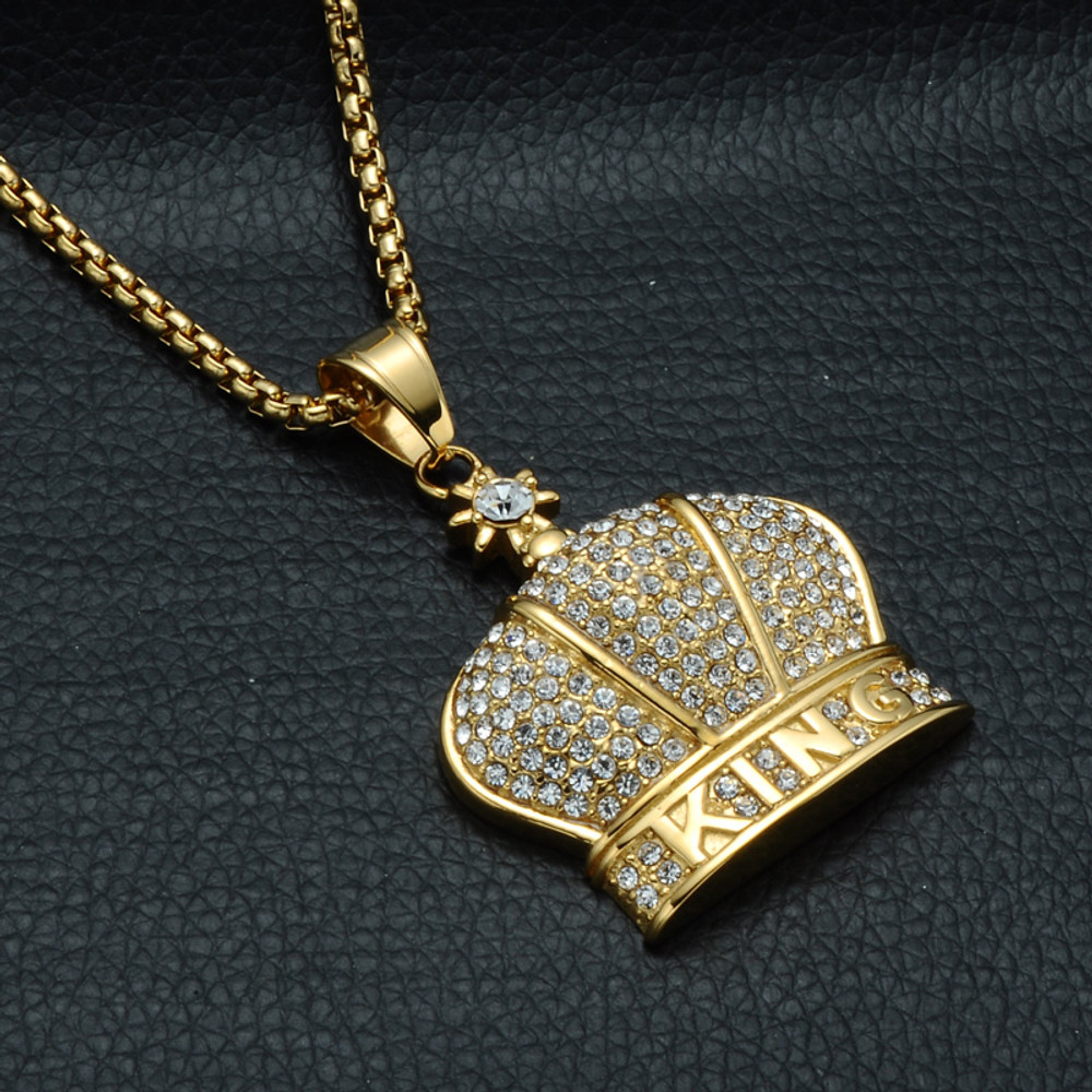14k gold Iced Out King Crown Pendant