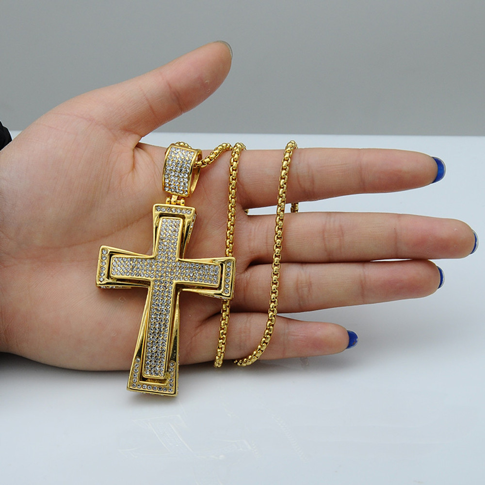 Hip Hop Micro Pave Full Lab Diamond Stainless Steel Iced Out Double Layer Cross Pendants Necklace
