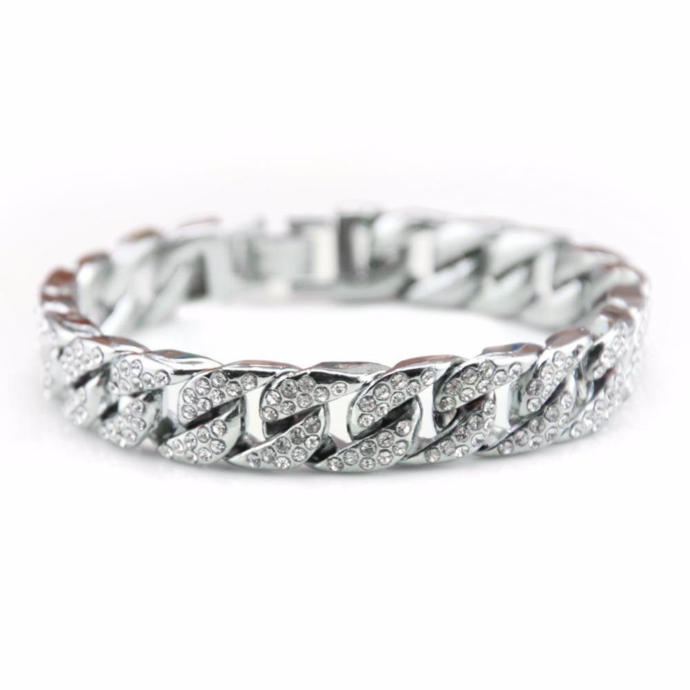 Full AAA Lab Diamond Men's Miami Cuban Link Bling Bracelet