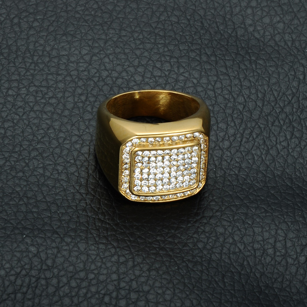 Hip Hop Micro Pave Simulated Diamond  Square IP Gold Filled Titanium Stainless Steel Ring