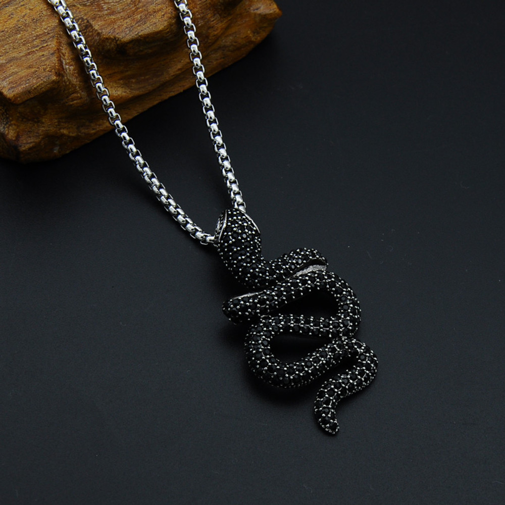 Hip Hop Punk Gothic Titanium Stainless Steel Black Big Cobra Snake Pendants