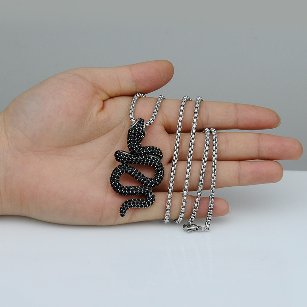 Hip Hop Titanium Stainless Steel Black Big Cobra Snake Pendant
