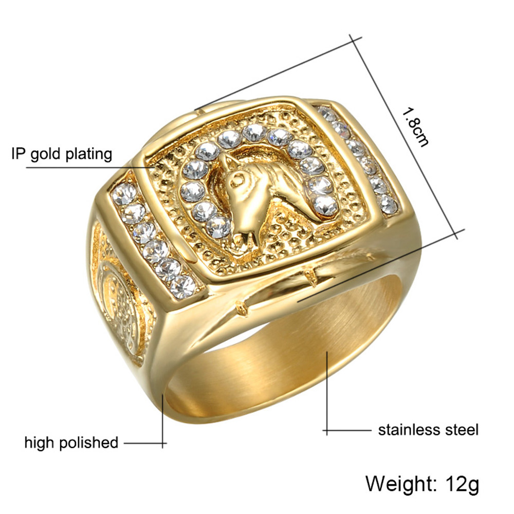 Micro Pave Simulated Diamond Out Bling  Gold Filled Titanium Stainless Steel Ring