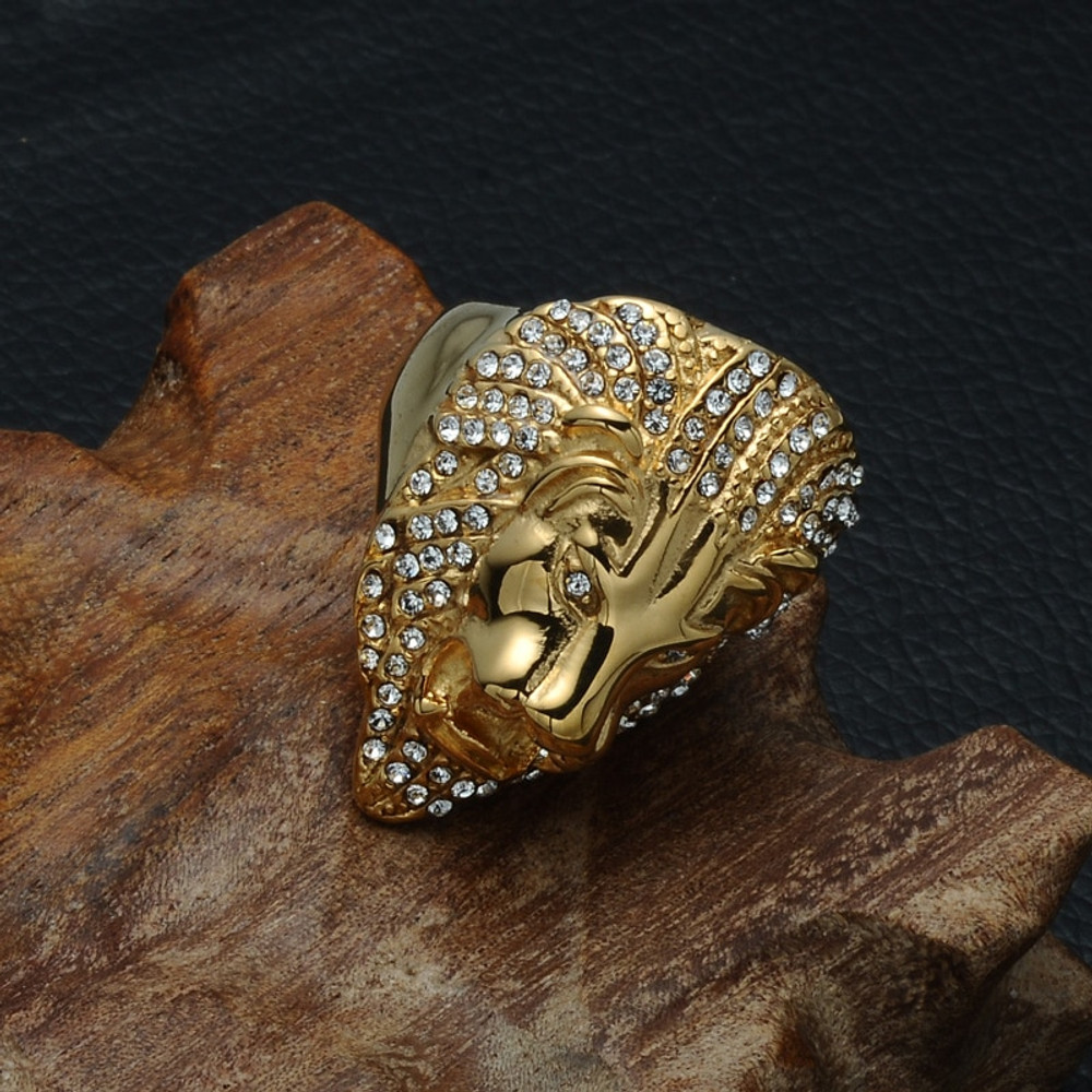 Hip Hop Micro Pave Simulated Diamond Lion Head 14k Gold Titanium Stainless Steel Ring