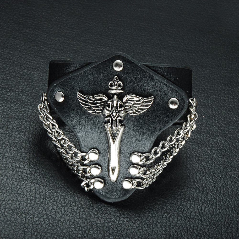 Creative Unique Angel Sword Metal Chain New Age Wide Cuff Leather Bracelet