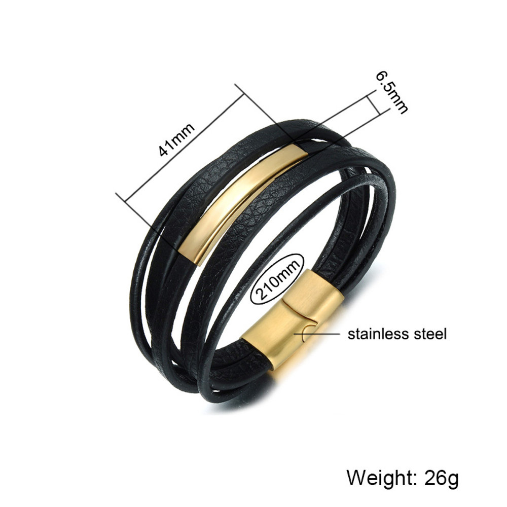 Black Multilayer Genuine Leather Rope Magnetic Clasp Bracelet