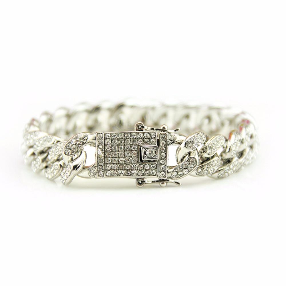 .925 Silver Full AAA Lab Diamond Pave Miami Cuban Link Chain Bracelet