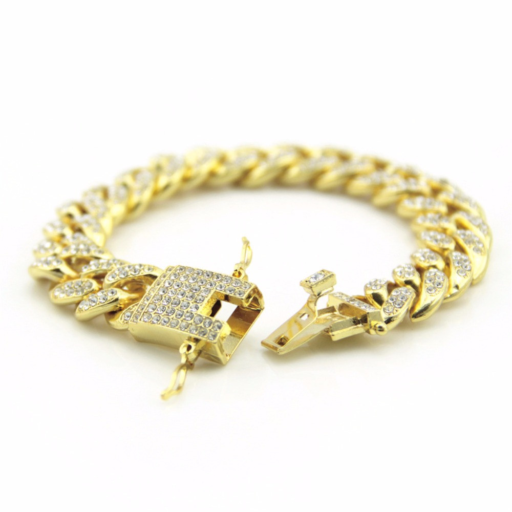 Hip Hop Bling Iced Out Full AAA Lab Diamond Pave Miami Cuban Link Chain Bracelet