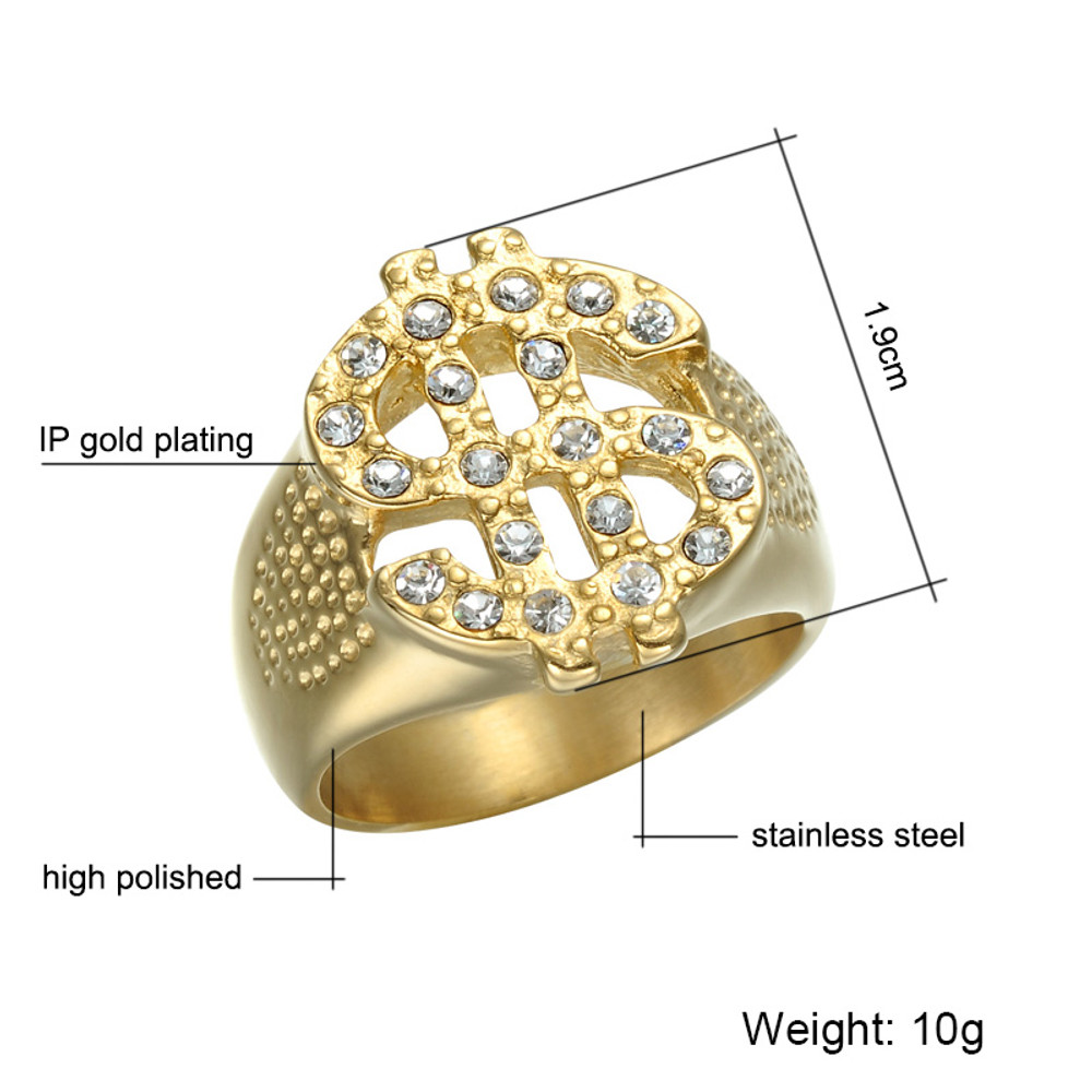 Hip Hop Iced Out Bling Titanium Stainless Steel Dollar Sign Ring