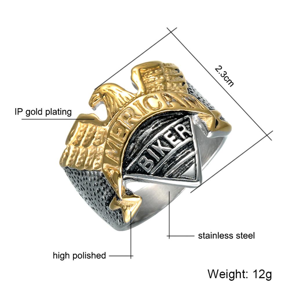 Men's American Biker Eagle Titanium Stainless Steel Ring