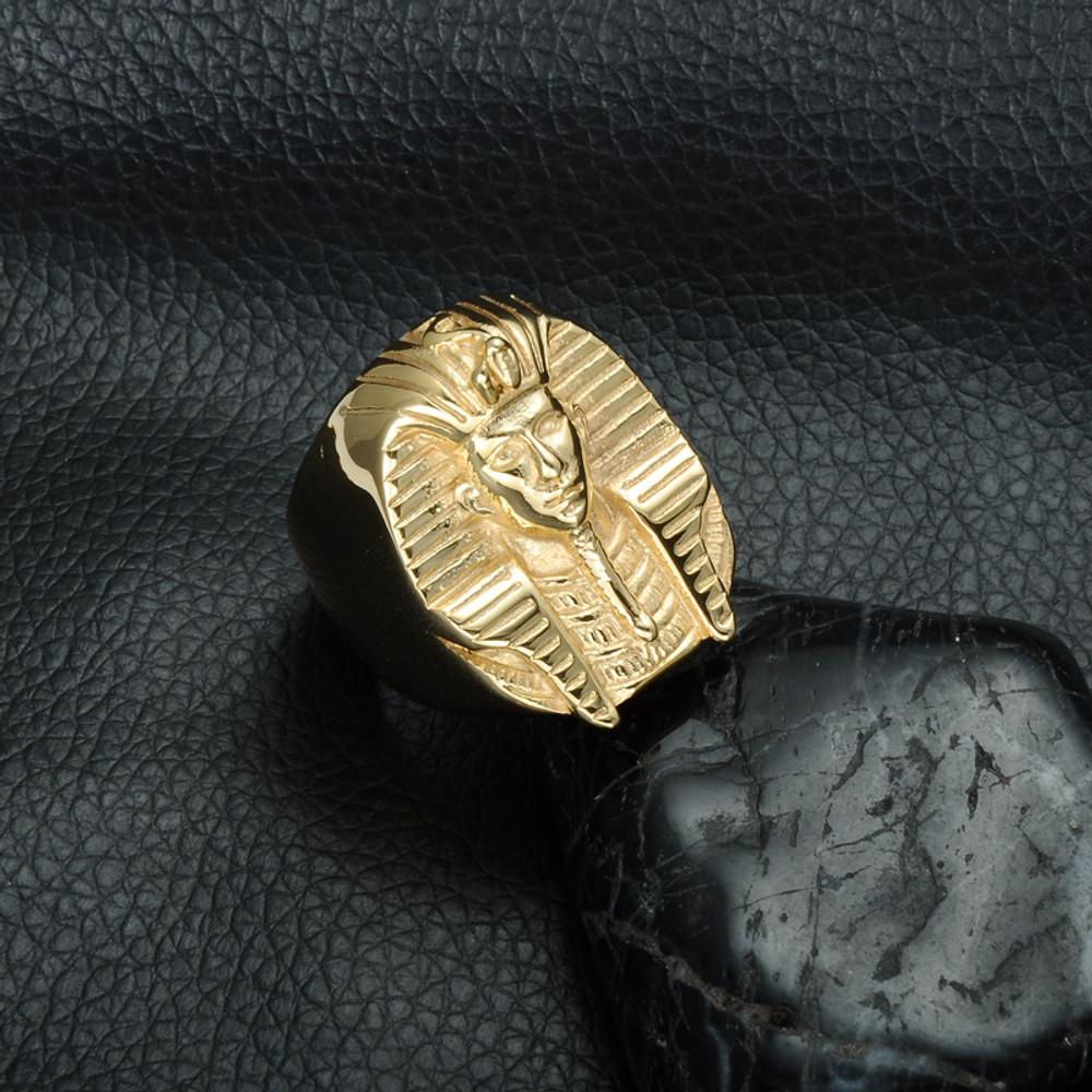 Hip Hop Gold Mysterious Egyptian Pharaoh Titanium Stainless Steel Mens Bling Ring
