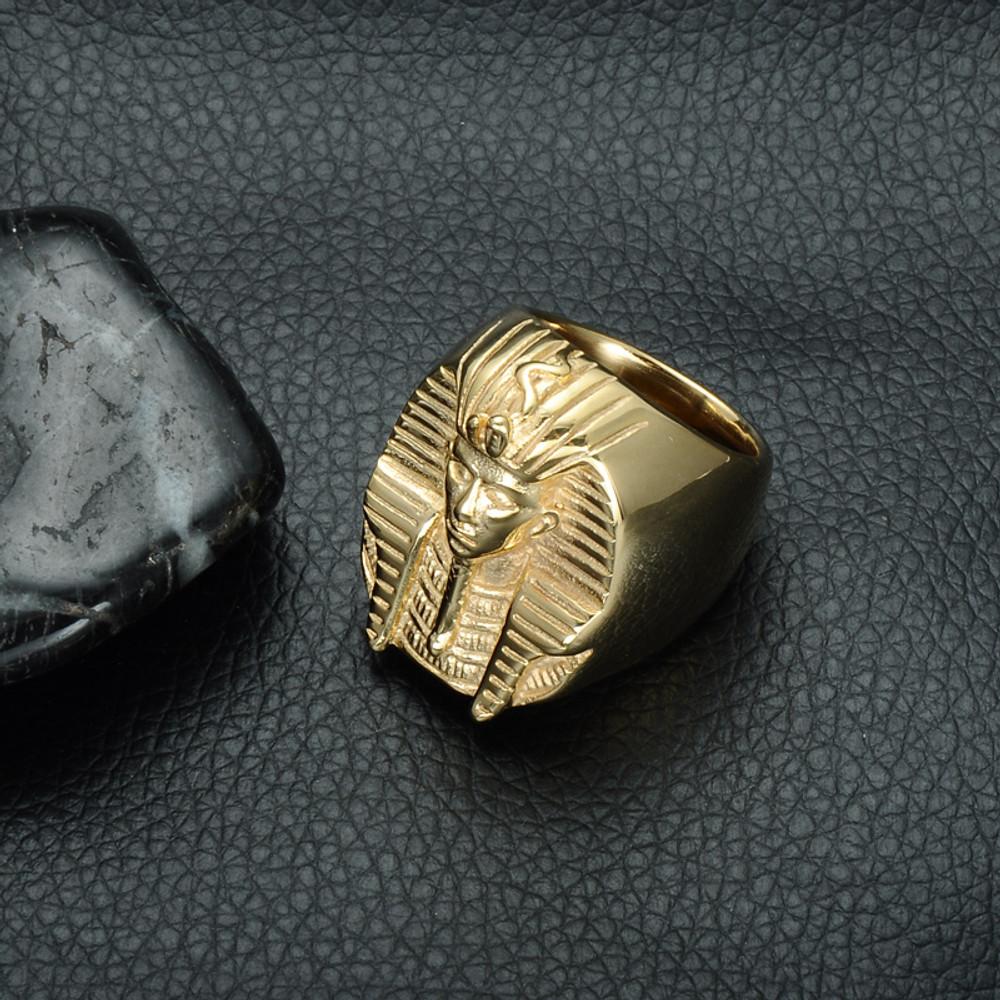 14k Gold Hip Hop King Tut Egyptian Pharaoh Titanium Stainless Steel Mens Bling Ring