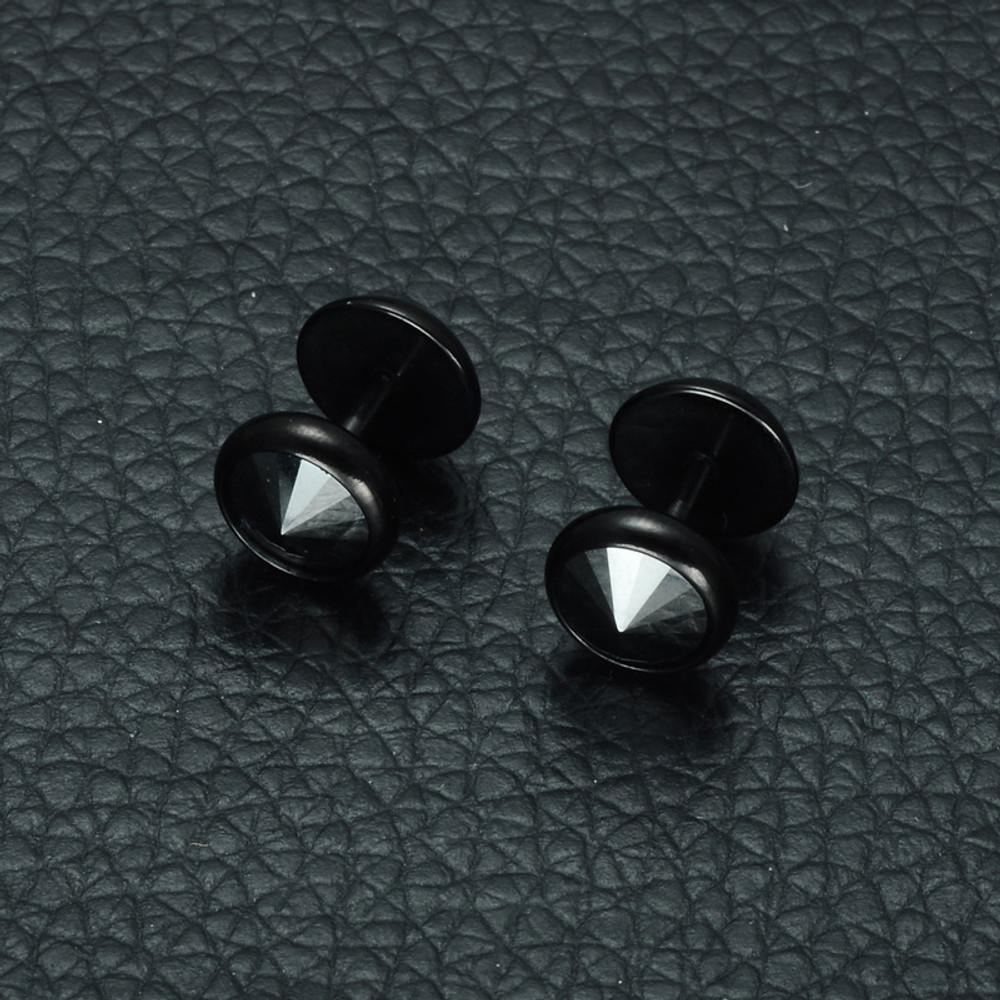 Men's Iced Out Bling Korean Crystal Black 316L Stainless Steel Bling Earrings