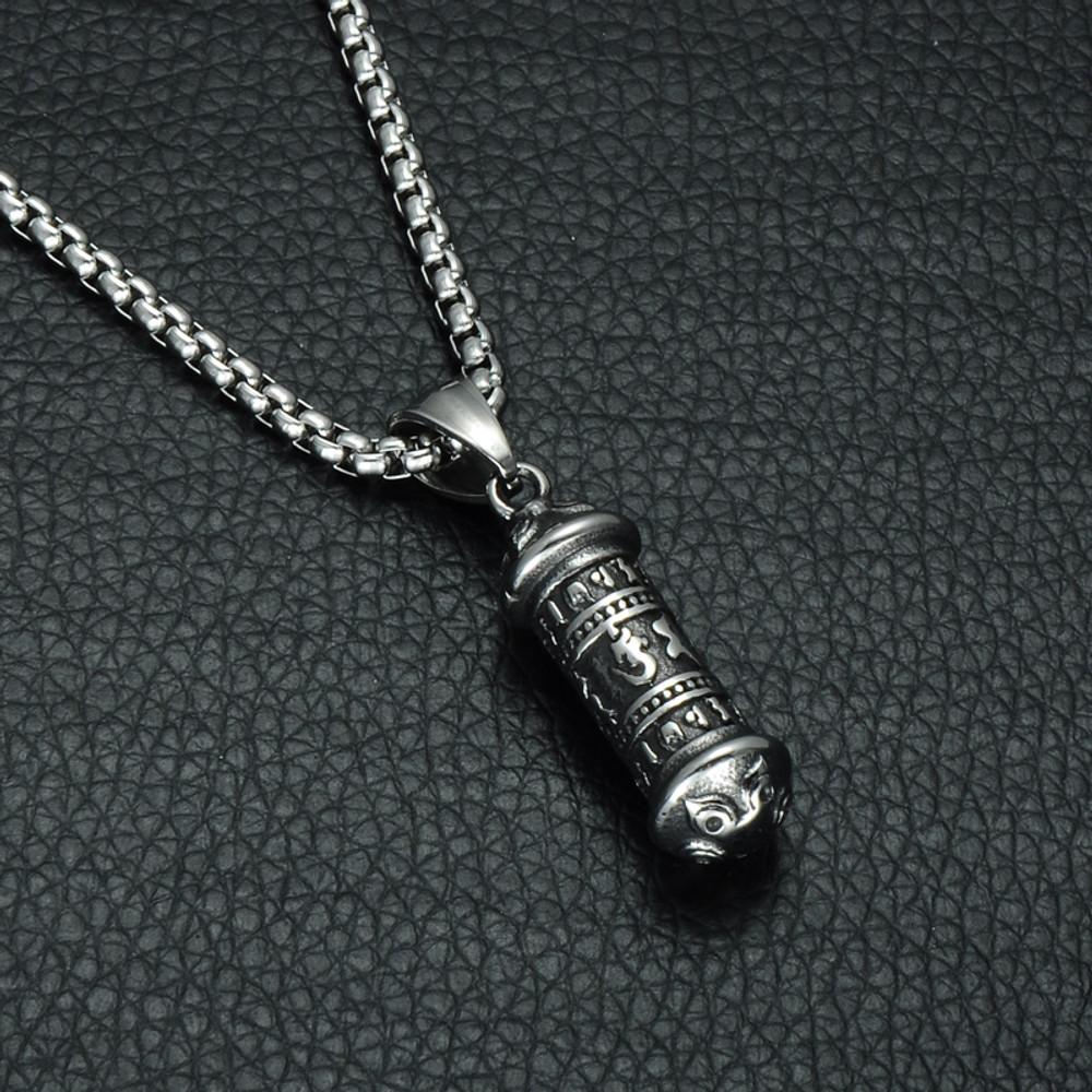 Hip Hop Titanium Stainless Steel Tibet Buddhism Mantra Six Words Chain Pendant