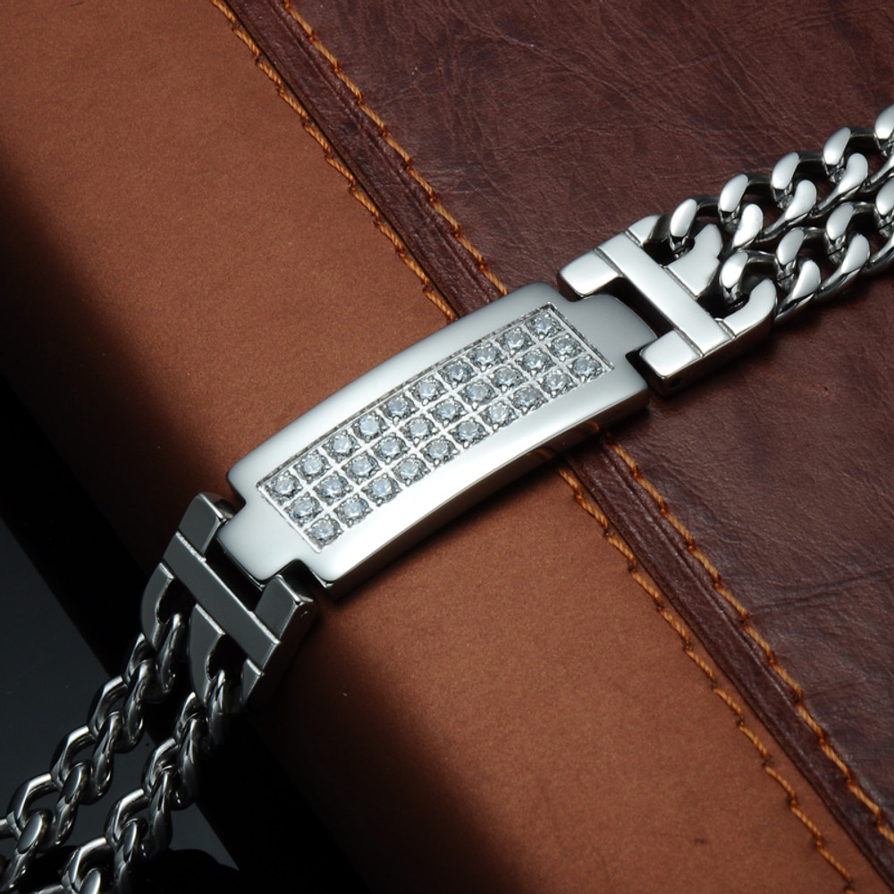 Mens Hop Hop Ice Out Micro Pave Lab Stone Stainless Steel Curb Cuban Link Chain Bracelet
