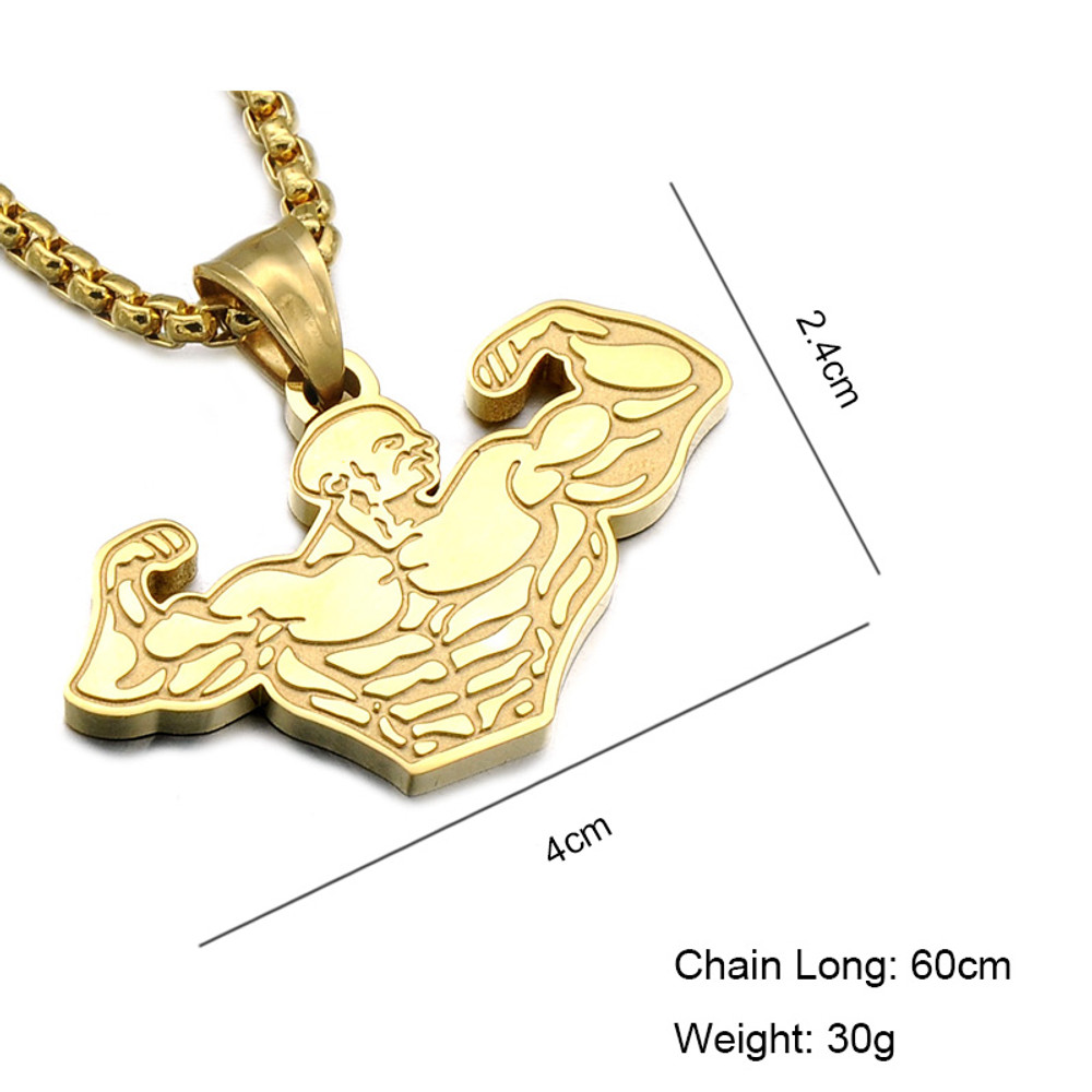 Hip Hop Titanium Stainless Steel Muscle Pendant Chain Necklaces