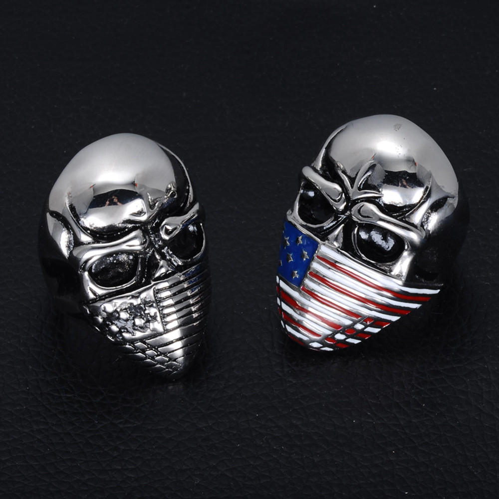 Flag Bandanna Masked Skull Gang Biker Boy Stainless Steel Biker Ring For Men Jewelry