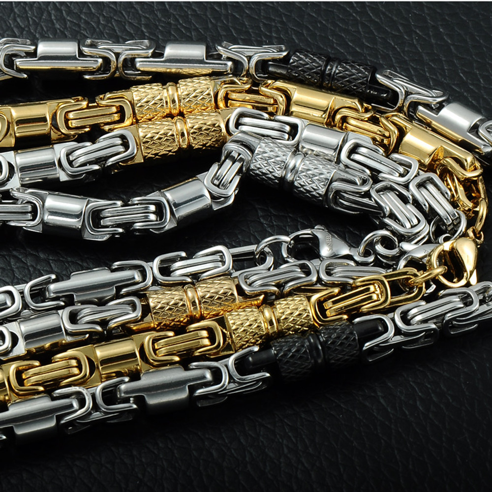 Men's Titanium Stainless Steel 55CM 6MM Heavy Link Byzantine Chain Necklace