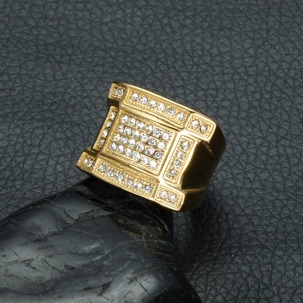 Mens Iced Out Micro Pave Simulated Diamond Bling IP Gold Filled Titanium  Stainless Steel Rings for ... 6eada80e6298