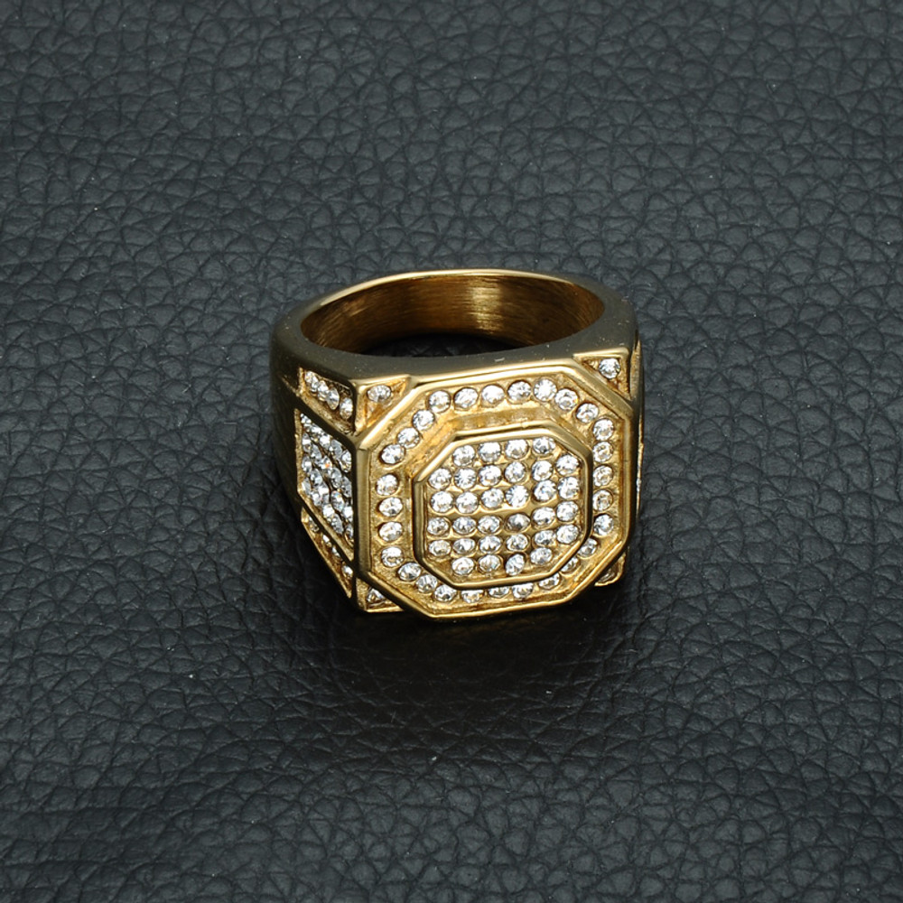 Men's Micro Pave Simulated Diamond Iced Bling Hexagonal Gold Titanium Stainless Steel Ring