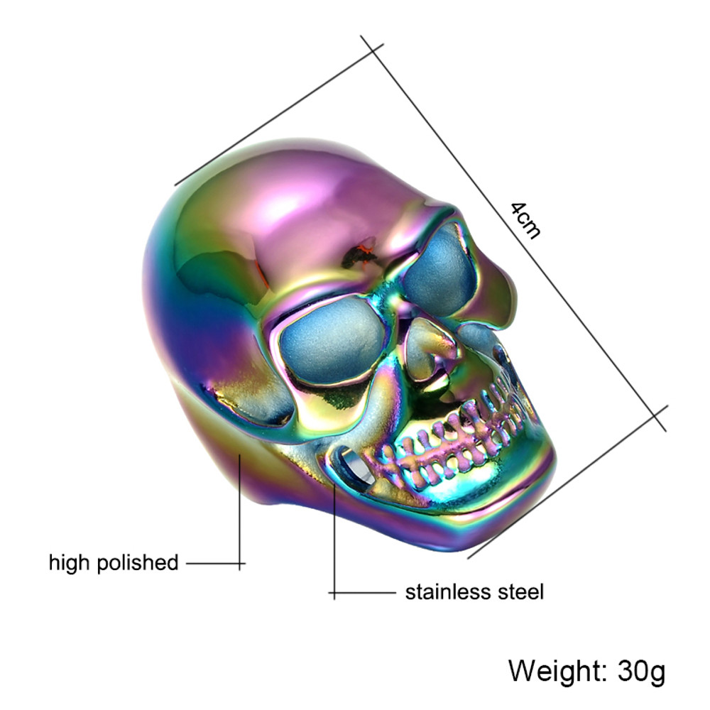 Hip Hop Funk Multicolor Titanium Stainless Steel Skeleton Skull Rings