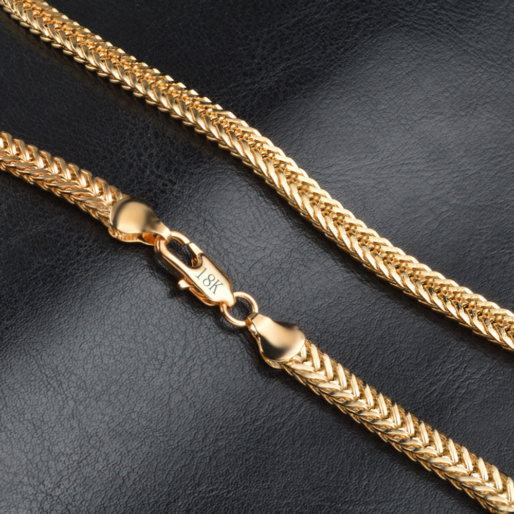 Gold Stainless Steel Double Curb Cuban Link Chain