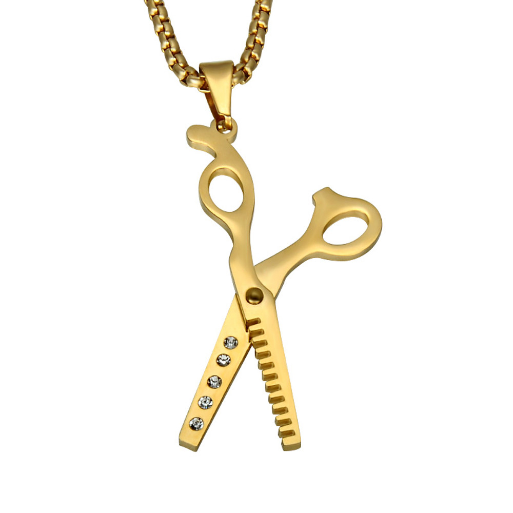 Mens Iced Out Haircut Barber Scissors 316L Stainless Steel Chain Pendant