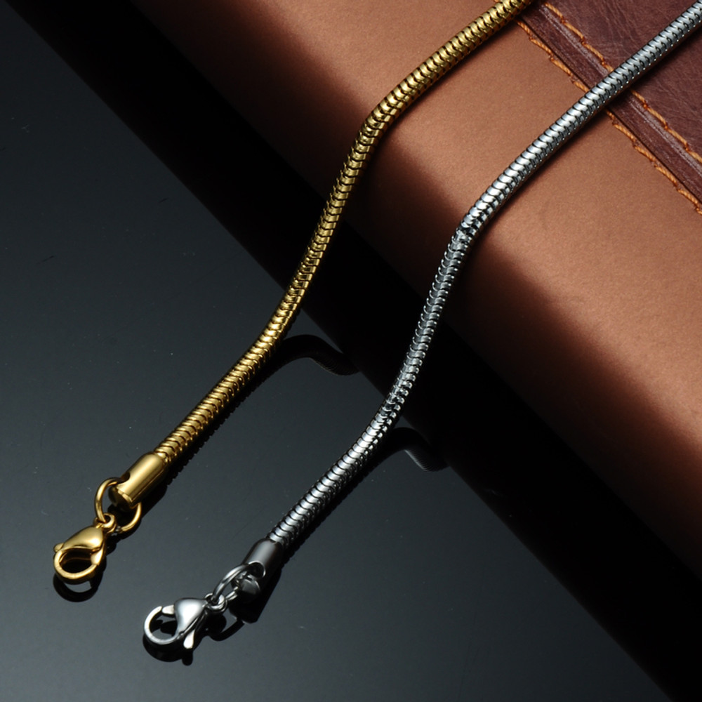 Mens Hip Hop 24 Inch 6mm Stainless Steel Snake Link Chain Necklace