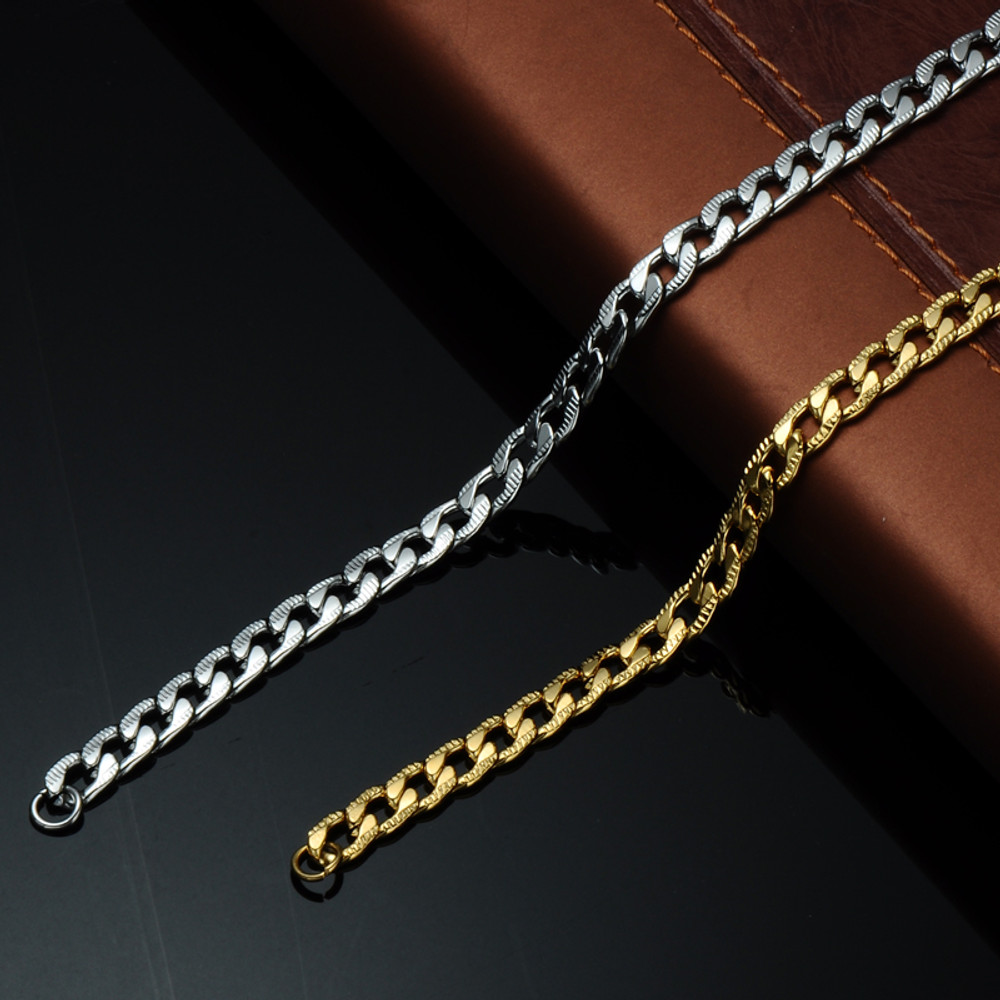 Mens Hip Hop 24 Inch 6mm Stainless Steel Designer Cuban Link Chain Necklace