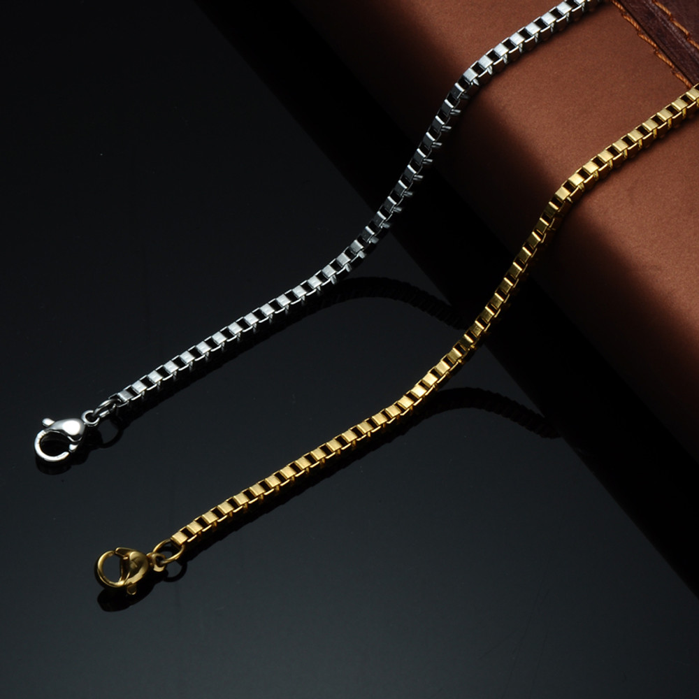 Mens Hip Hop 24 Inch 6mm Stainless Steel Designer Box Link Chain Necklace