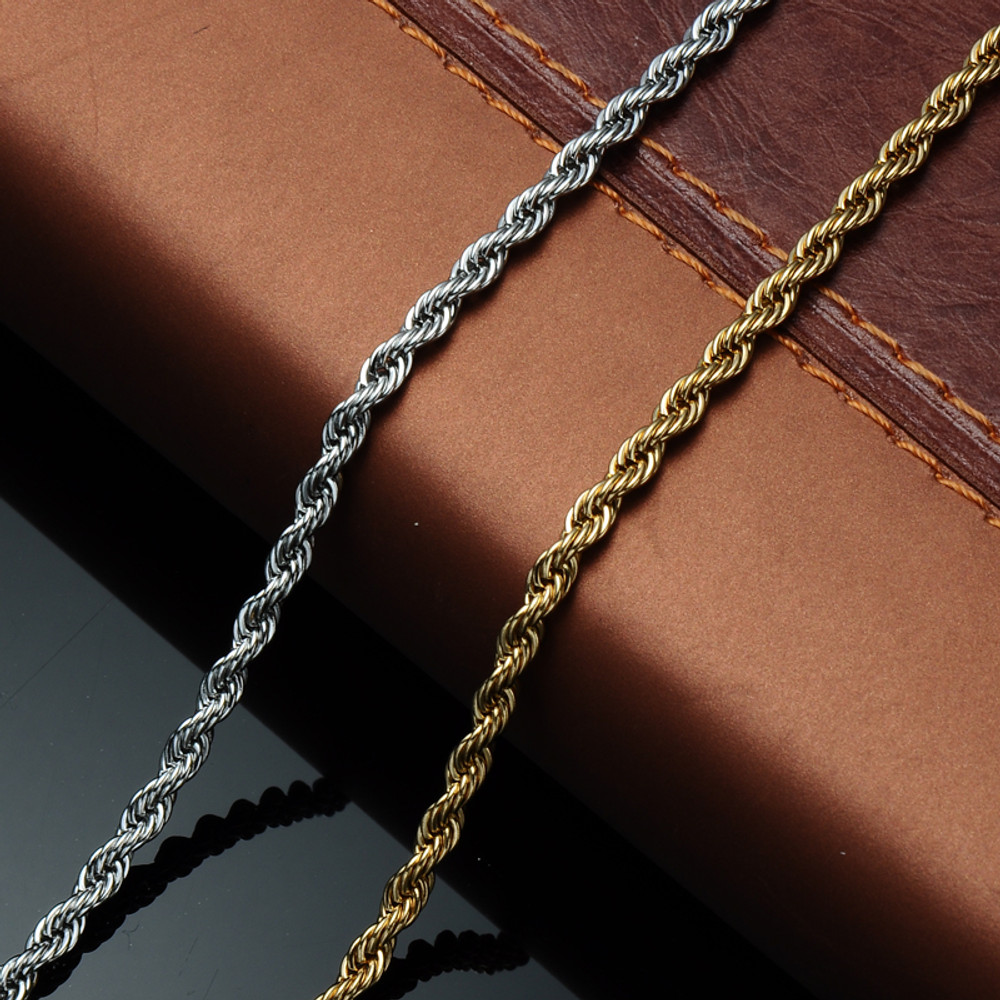Mens Hip Hop 24 Inch 6mm 316L Stainless Steel Designer Rope Link Chain Necklace