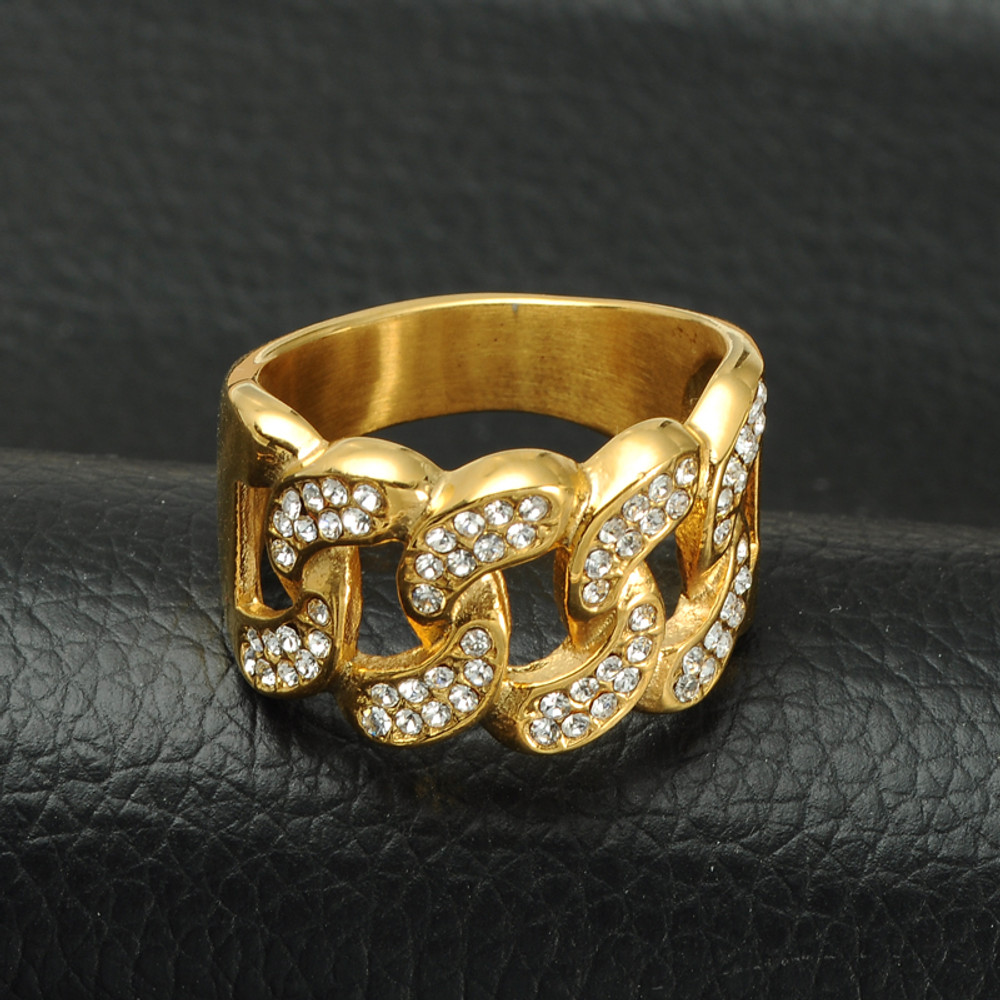 Mens Iced Out Micro Pave Simulated Diamond Bling Cuban Link Chain Gold Ring  ... b338c13fcb2d
