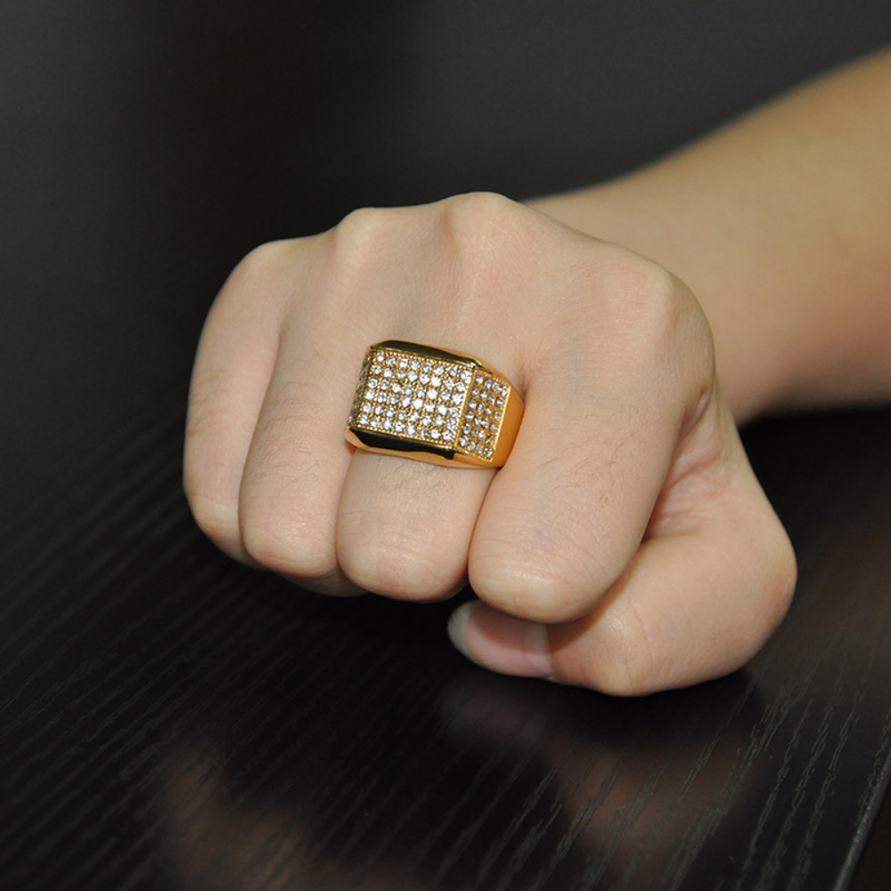 Hip Hop Micro Pave Simulated Diamond Iced Out Bling Gold Filled Titanium Stainless Steel Ring