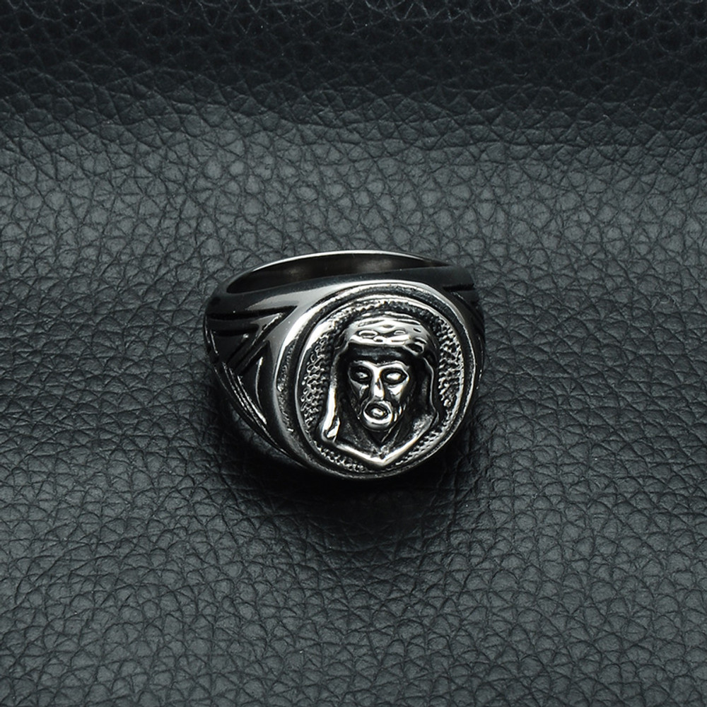 Mens Christian Jesus Piece Heavy Metal Casting Titanium Stainless Steel Ring