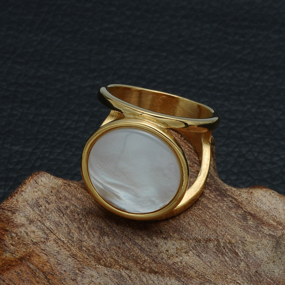 Elegant Round Pearl Natural Shell 14k Gold Silver Big Stone Titanium Ring