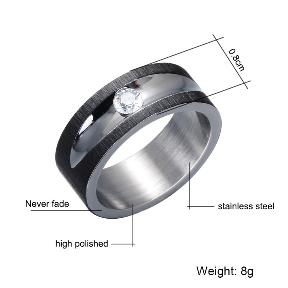 Men's Mosaic Simulated Diamond High Polished Black Titanium Stainless Steel Ring