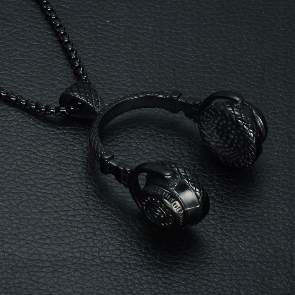 Mens Hip Hop Titanium Stainless Steel Headphones Headset Music Chain Pendant