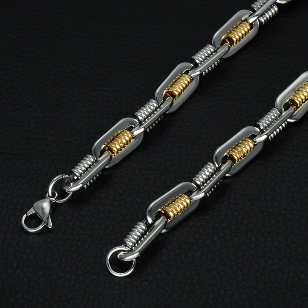 Hip Hop Two Tone 14k Gold Titanium Stainless Steel Flat Handmade Heavy Link Byzantine Chain