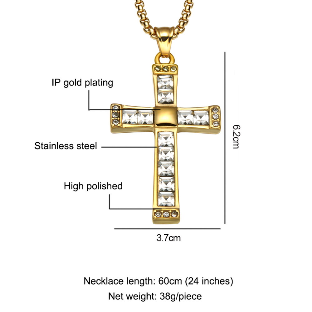 Iced Out Princess Cut Baguette Stainless Steel Simulated Diamond Hip Hop Cross Pendant