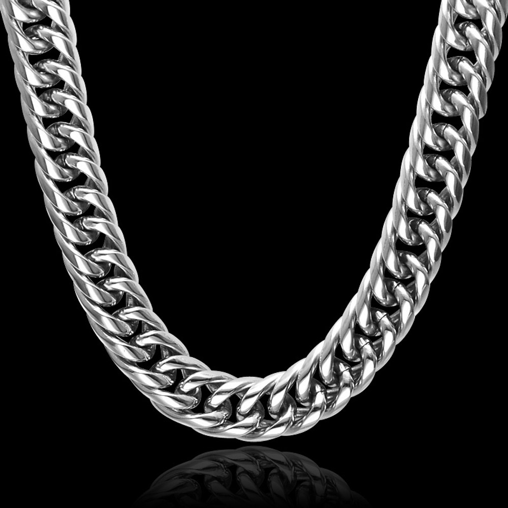 Hip Hop 24 INCH 16MM Heavy Titanium Stainless Steel Double Curb Miami Cuban Link