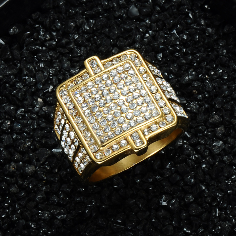 Hip Hop 14k Gold Bling Iced Out Stainless Steel Double Square Rings