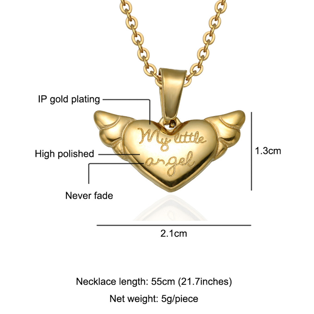My Little Angel Stainless Steel 14k Gold Heart Chain Necklace