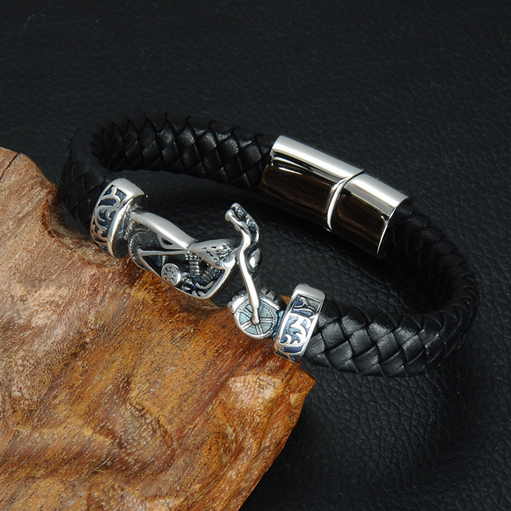Men Stainless Steel Motorcycle Black Braided Genuine Leather Bracelet