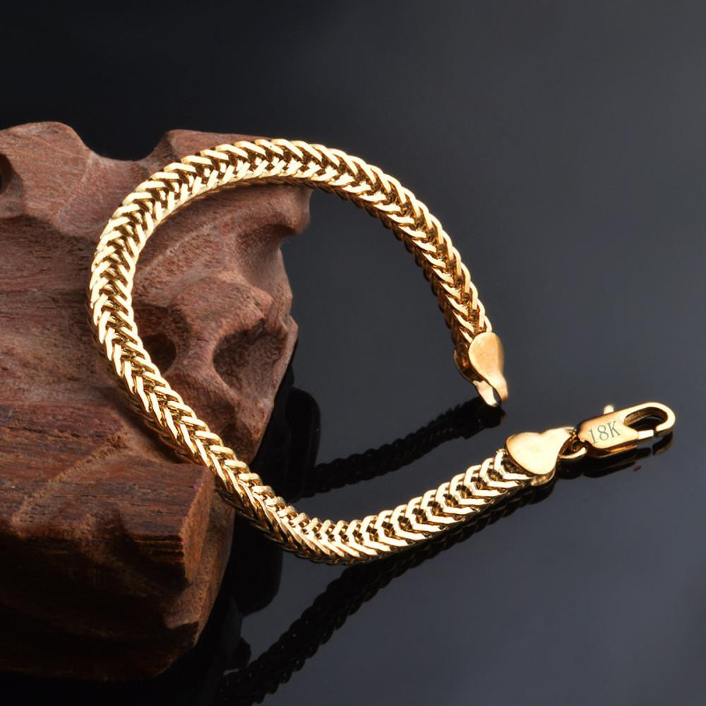 14k Gold Hip Hop Cuban Link Stainless Steel Snake Bone Chain Bracelet