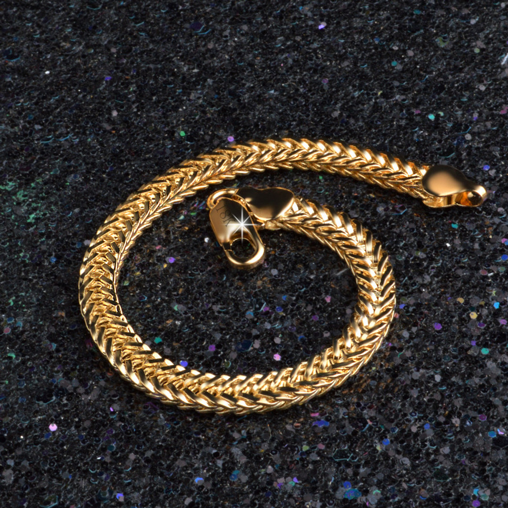 14k Gold Hip Hop Stainless Steel Snake Bone Chain Link Bracelet
