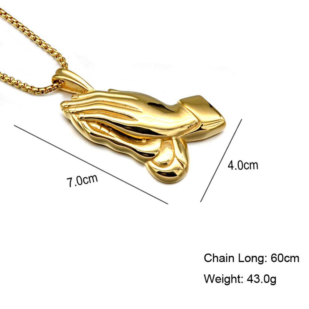 Mens Hip Hop 14k Gold Titanium Stainless Steel Praying Hands Chain Pendant