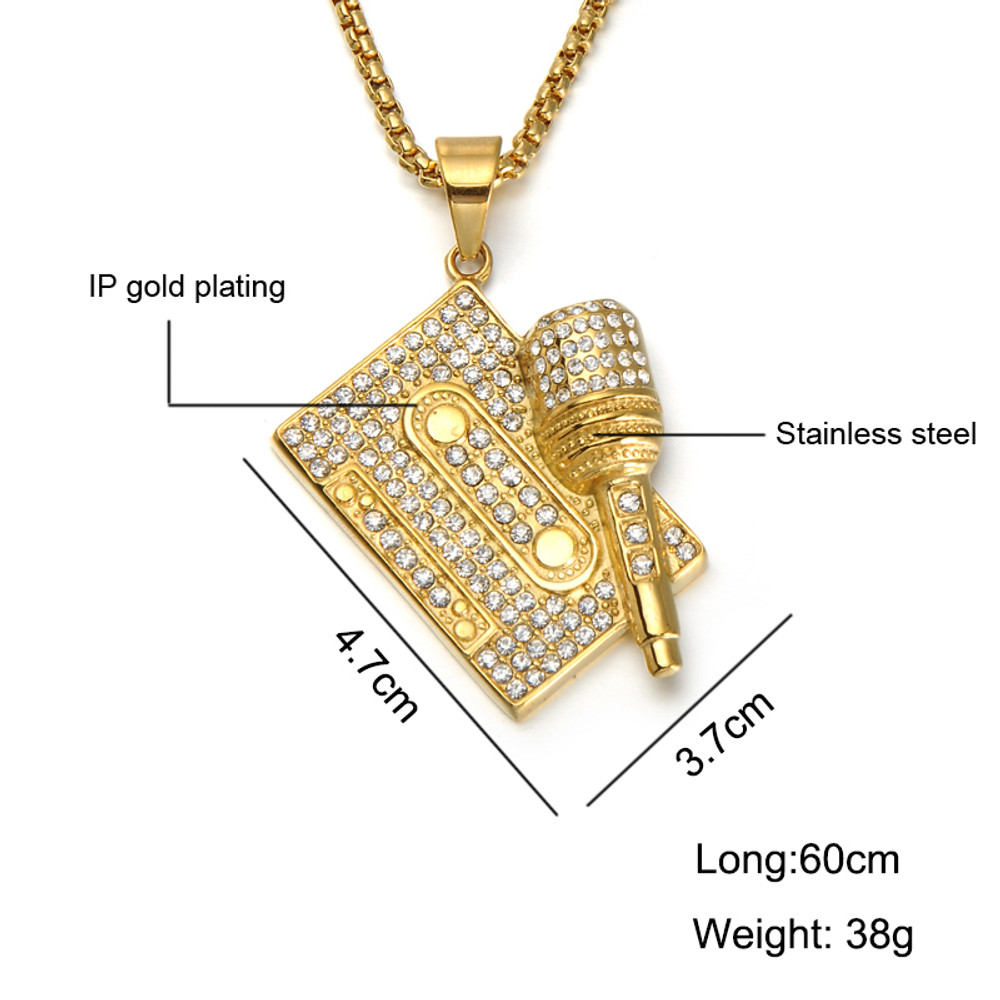 Lab Diamond Bling Microphone Mix Tape Stainless Steel Hip Hop Chain Pendant