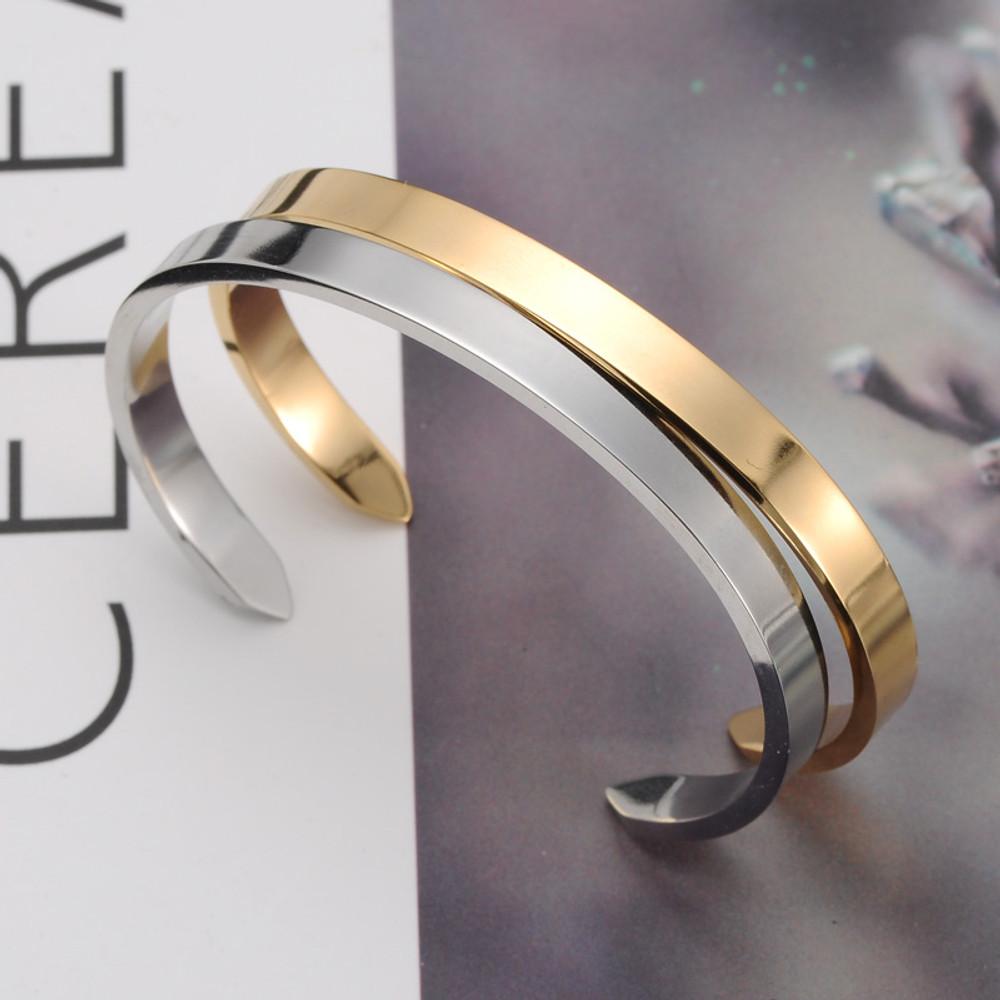 Ladies 14k Gold Titanium Stainless Steel Arrow Open Cuff Bangle Bracelet
